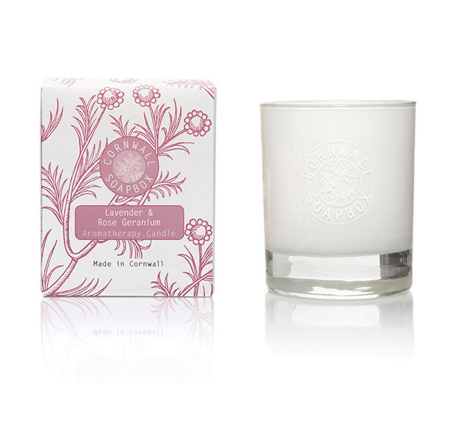 Lavender and Rose Geranium Glass Aromatherapy Candle